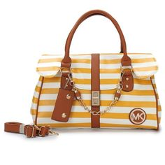 Michael Kors Striped Large Yellow Satchels Outlet