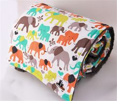 Large cotton and minky Elephant baby/toddler blanket