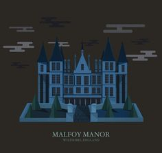 """Further illustrations in the series were made upon request via Penley's tumblr, like this extra-spooky Malfoy Manor.   These Mesmerizing Illustrations Of """"Harry Potter"""" Locations Are Truly Magical"""