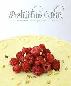 Pistachio Cake with White Chocolate & Raspberries by Tessa Huff     TheCakeBlog.com