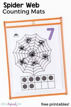 These spider web counting mats are so much fun and great way to teach counting this fall! Add them to your math centers or just use them with your kids at home. via @danielledb