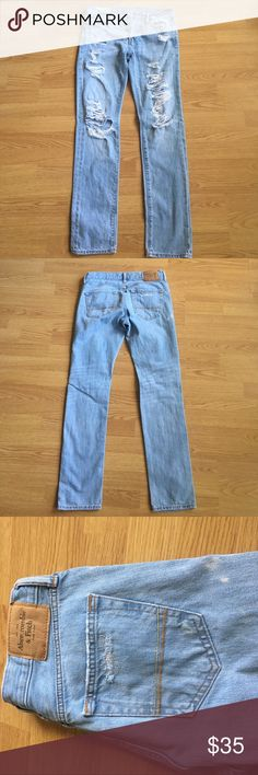 Abercrombie and Fitch jeans Ripped Abercrombie light wash jeans (29x 32) in amazing condition only worn a few times Abercrombie & Fitch Jeans Skinny