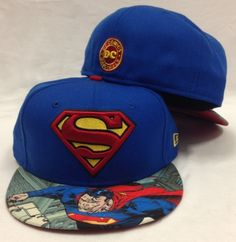 77c3719f433a0 New Era 59Fifty Superman Viza Print Blue Fitted Cap Superhero Hats