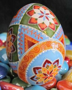 Duck Egg Pysanka by Katrina Lazarev, Pysanky