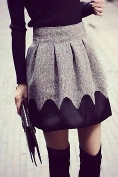 High waist skirt & over the knee boots.
