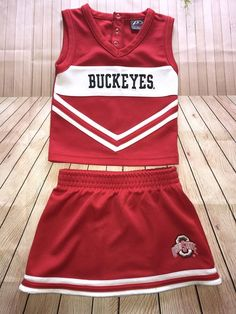 P2 By ProPlayer Ohio State Buckeyes 2 Piece Cheerleader Uniform Costume  Size 2T  1a9289f78