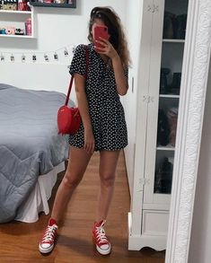 End Friday=> This thing For Tshirt Women seems to be 100 % wonderful, will hav… – Holidays Red Converse Outfit, High Top Converse Outfits, Dress With Converse, Chic Outfits, Spring Outfits, Trendy Outfits, Fashion Outfits, Boot Outfits, Girl Fashion