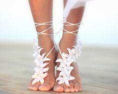 Herbst Blumen barfüßigsandelholz, Strand Hochzeit barfüßigsandelholz, nude Schuhe, barfuss Sandalen