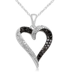 "10k White Gold Black and White Diamond Heart Pendant Necklace (1/3 cttw, I-J Color, I2-I3 Clarity), 18"""