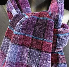 Plush Chenille Handwoven Scarf, Soft Purple Plum Violet Hand Woven Scarf