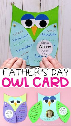 Make Father's Day special this year for Dad and Grandpa with this Guess Whooo Loves You Father's Day Owl Card. A free template is included to make this Father's Day Craft simple for kids of all ages to make. Easy Father's Day card for preschoolers. Diy Father's Day Crafts, Father's Day Diy, Diy Crafts For Kids, Holiday Crafts, Children Crafts, Card Crafts, Art Children, Preschool Summer Crafts, Diy Father's Day Gifts Easy