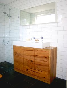 Recycled timber vanity with drawers and push to open runners for a modern look by Bombora Custom Furniture. Recycled Timber Furniture, Custom Made Furniture, Furniture Design, Furniture Makers, Timber Benchtop, Timber Vanity, Timber Shelves, Timber Kitchen, Kitchen Island Bench