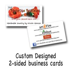 Business Cards 2sided Designed for You by WildGooseChase on Etsy