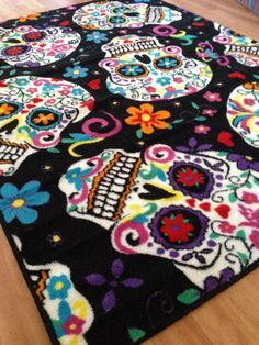 Big Sugar Skull Rug - Black - Day of the Dead Inspired Flooring
