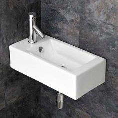 Narrow Wall Hung Cloakroom Ensuite Left Hand Sink x LUCCA Click Basin - Product Specification Image Cloakroom Sink, Corner Sink Bathroom, Loft Ensuite, Cloakroom Ideas, Downstairs Bathroom, Wall Mounted Basins, Wall Mounted Bathroom Sinks, Bathroom Basin, Basin Sink