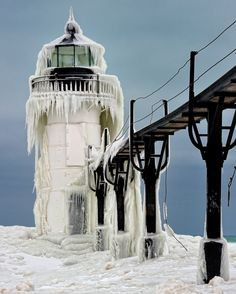 Cool lighthouse in winter