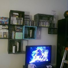 On instagram by brujabrujitabruja_ #nes #microhobbit (o) http://ift.tt/1SriLEg  put up these crates to hold all our consoles and video game collections and maybe even some decorations. :) #halo #gamer #gamercouple ##youngfarmers #farm #mountainlife #PlayStation #Xbox #snes  #gameboy #Wii #ewok #diy #milkcrates #videogames #collection #wip #love #blessed #rpg #fps #fantasy #scifi #nerds #Sega