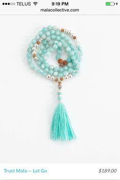Trust Mala Beads; Chalcedony & Aquamarine