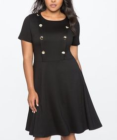 Loving this Totally Black Button-Front Fit & Flare Dress - Plus on #zulily! #zulilyfinds