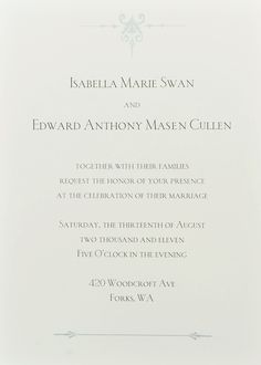 Invitation to Bella and Edwards wedding