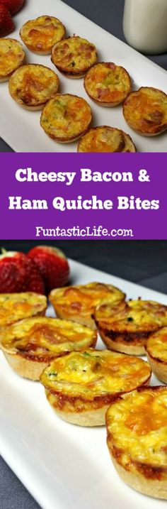 Cheesy Bacon and Ham Quiche Bites Recipe - Funtastic Life Savory Breakfast, Easy Healthy Breakfast, Healthy Snacks, Breakfast Recipes, Snack Recipes, Easy Recipes, Fruit Recipes, Breakfast Ideas, Healthy Eating