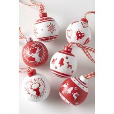 Red & White Patterned Wooden Baubles