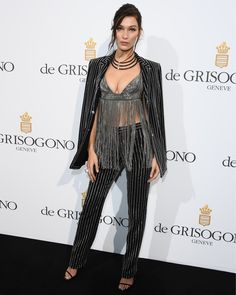 Giuseppe Zanotti: Bella Hadid in the HARMONY sandal at a party during the 69th annual Cannes Film Festival.