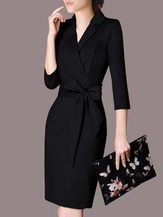 3/4 Sleeve Lapel Women's Sheath Dress