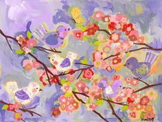 lavendar and coral cherry blossom giclee canvas mural