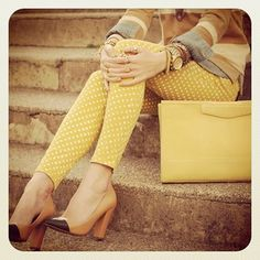 Polka dotted pants and great shoes? Love!!