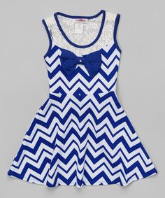 Take a look at this Blue & White Chevron Bow Dress - Girls on zulily today!