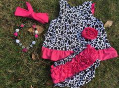 Baby Girl Black White Pink Swing Top Bloomer Dress Set Necklace 6M 9M 12M 18M #MyCutiePye #DressyEverydayHolidayPageant