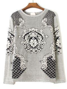 Grey Long Sleeve Totem Pattern Loose Sweater