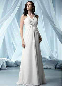 BEAUTIFUL CHIFFON SATIN EMPIRE V-NECK FLOOR LENGTH WEDDING DRESS LACE FORMAL PROM PARTY BALL GOWN CUSTOM SIZE