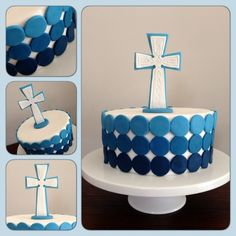 First Holy Communion Cake More Más Boys First Communion Cakes, Boy Communion Cake, Comunion Cakes, Christian Cakes, Baptism Cupcakes, Bible Cake, Religious Cakes, Confirmation Cakes, Special Birthday Cakes