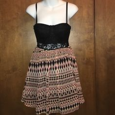 Aztec print mini dress Silly material, great condition! Material Girl Dresses