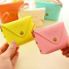 RU&BR RU&BR New Fashion Women Leather Coin Purse Cute Candy Color KeyChain Wallet Business Card Holder Bag Money Pouch Package