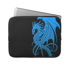 Flying Tribal Dragon - blue on black Laptop Computer Sleeve