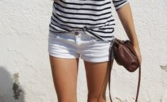 White striped shirt with shorts