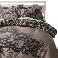 Use my Marimekko fabric and cheap cotton (or linen dyed taupe) for sides? Room 365™ Tree Silhouette Reversible Duvet Cover Set