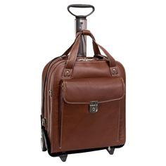 Siamod Pastenello Vertical Detachable-Wheeled Leather Laptop Case - Cognac - 45314