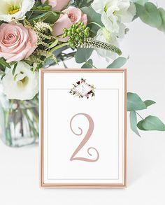 Rose Gold Geometric Floral Monogram Wedding Table Number