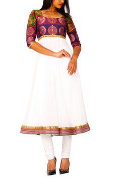 White Anarkali w. Multicolored Silk Bodice Rs.2990