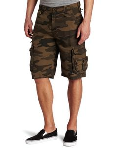 Burnside's young men's camo print ripstop short is made from 100 percent cotton, this cargo short offers two side leg pockets with flap closure, and two back pockets as well