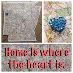 DIY modpodged map over wooden cut out and string heart over hometown.