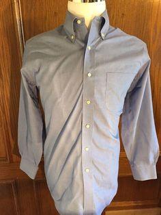 BROOKS BROTHERS Long Sleeve Dress Shirt Blue 346 Mens 15.5 32/33 Cotton #BrooksBrothers