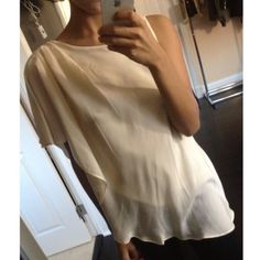 BCBGeneration beige shoulder top New with tags! Retail price $88 BCBGeneration Tops