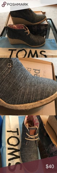 TOMS wedges Brand New. Never Worn. TOMS Desert Wedge. Color : Black Chambray. I've had these for so long and they've just been sitting around in my closet. My loss is your gain.  Comes with box and dust bag. TOMS Shoes Wedges