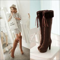 Fashion Women Faux Fur Ribbon Bow Tie Lace Up High Heel Platform Over Knee Boots
