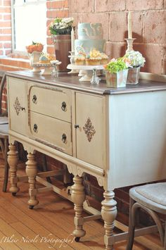 Using antique furniture for displaying treats